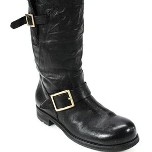 Jimmy Choo 'Youth' Black Leather Boots - Sz 37.5
